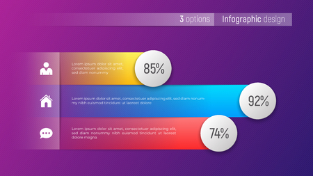 Easy editable vector 3 options infographic design, bar chart Çizim