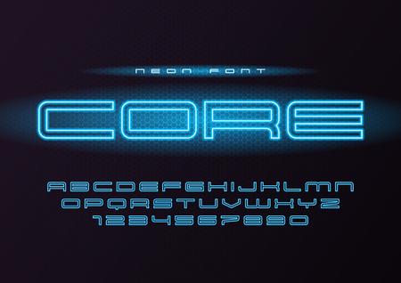 Core glowing vector neon futuristic font, typeface, alphabet, le Stock Vector - 100773974