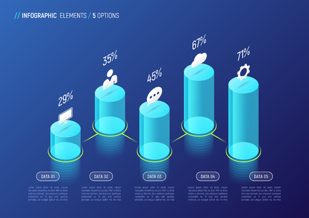 Modern isometric infographic design, chart, template, concept wi Illustration