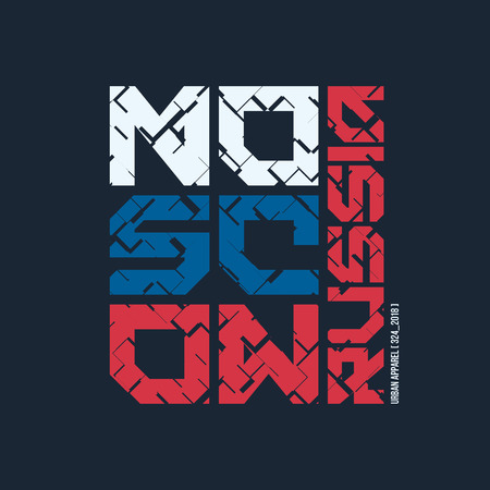 Moscow Russia styled vector t-shirt and apparel design, typography.