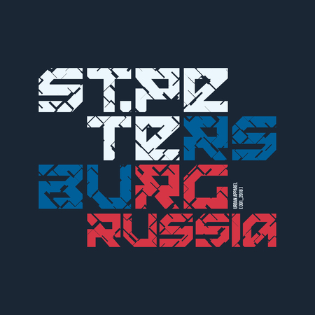 Saint Petersburg Russia styled vector t-shirt and apparel design Illustration