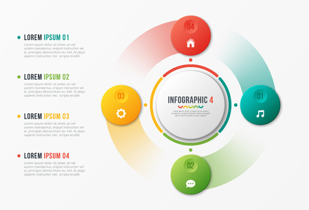 Rotating circle chart template, infographic design, visualizatio Banque d'images - 101116939