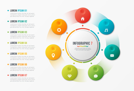 Rotating circle chart template, infographic design, visualizatio Stock Illustratie