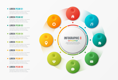 Rotating circle chart template, infographic design, visualizatio Banque d'images - 101116945