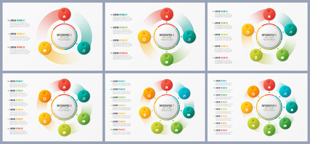Rotating circle chart templates, infographic designs, visualizat