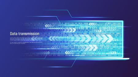 Concetto di tecnologia di trasmissione dati. Illustrazione vettoriale.