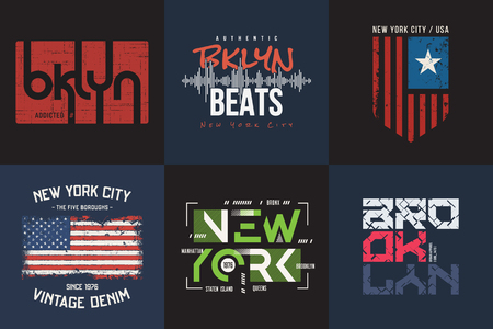 Set of six vector styled New York and Brooklyn t-shirt and appar