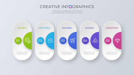 Contemporary minimalist vector infographic design with five opti Illustration