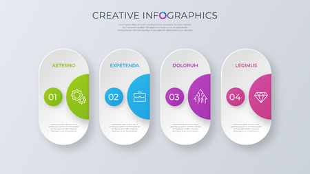 Contemporary minimalist vector infographic design with four opti