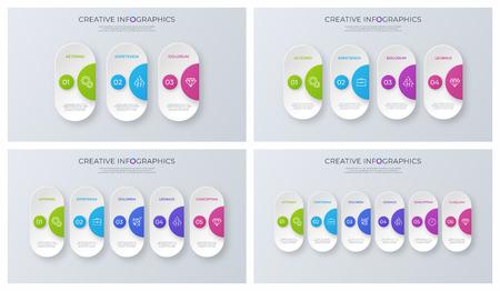 Set of contemporary minimalist vector infographic designs.