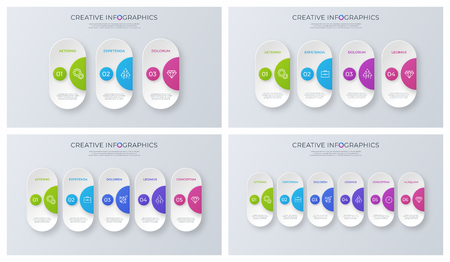 Set of contemporary minimalist vector infographic designs.
