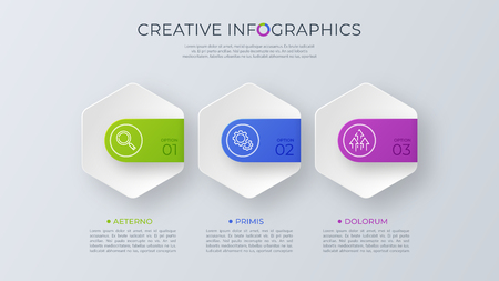 Contemporary minimalist vector infographic design with three opt Banque d'images - 101970410