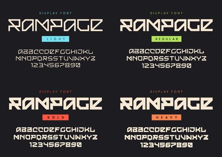 Vector modern display font named Rampage. Light, regular, bold a