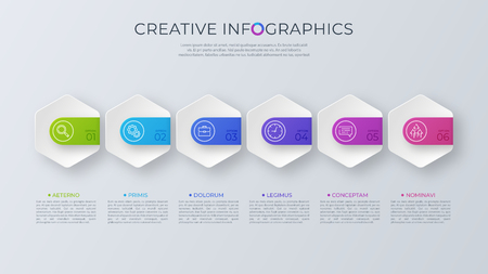 Contemporary minimalist vector infographic design with six optio