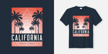 California Ocean Avenue t-shirt and apparel design, typography, Illustration