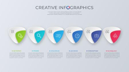 Contemporary minimalist vector infographic design with six optio Stock Vector - 102407619