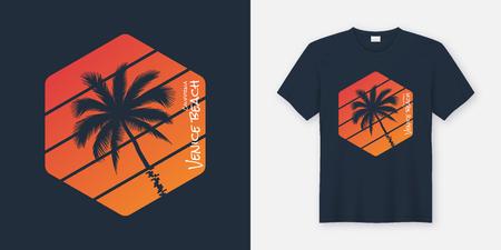California Venice Beach t-shirt and apparel design, typography,  イラスト・ベクター素材
