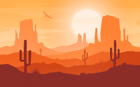昼間の漫画フラットスタイルの砂漠の風景。 写真素材 - 102486632
