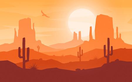 Paysage désertique de style plat de dessin animé de jour.