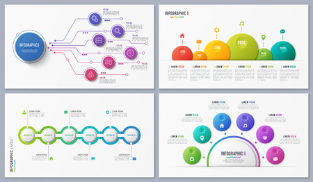 Set of contemporary infographic designs, concepts, templates six