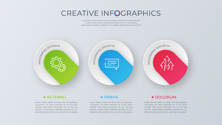 Contemporary minimalist vector infographic design with three opt