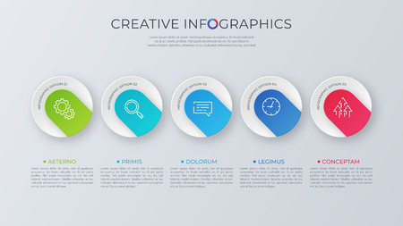 Contemporary minimalist vector infographic design with five opti Stock Vector - 102486639