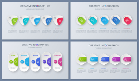 Set of contemporary vector infographic designs, tempates, charts