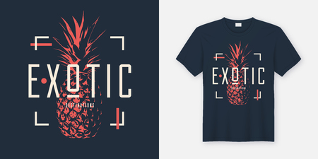 Stylish t-shirt and apparel modern design with pineapple, typogr Ilustração
