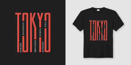 Tokyo city stylish t-shirt and apparel design, typography, print