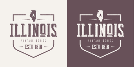 Illinois state textured vintage vector t-shirt and apparel desig