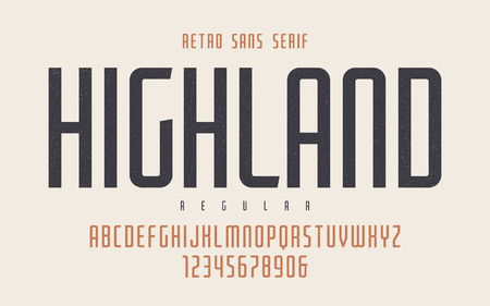 Highland vector condensed regular retro typeface, uppercase lett