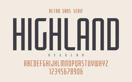 Highland vector condensed regular retro typeface, uppercase lett