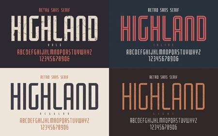 Highland vector condensé gras en ligne régulier et léger rétro ty