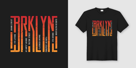 Brooklyn stylish t-shirt and apparel design, typography, print,  イラスト・ベクター素材