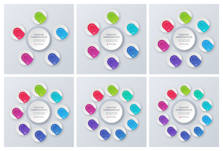 Set of contemporary vector circle chart templates, infographic d Illustration