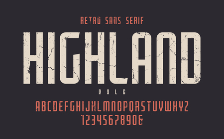 Highland vector condensed bold retro typeface, uppercase letters Illustration