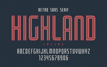 Highland vector condensed inline retro typeface, uppercase lette
