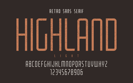 Highland vector condensed light retro typeface, uppercase letter  イラスト・ベクター素材