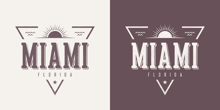 Miami Florida textured vintage vector t-shirt and apparel design