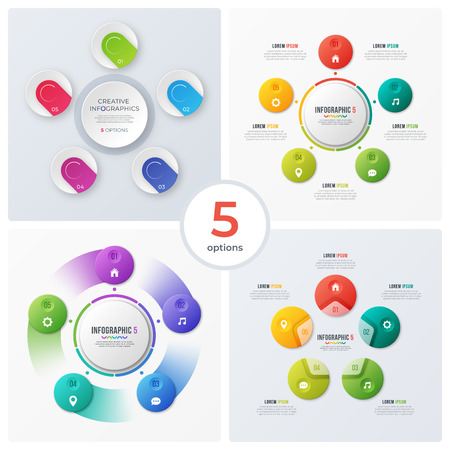 Set of modern circle charts, infographic designs, visualization