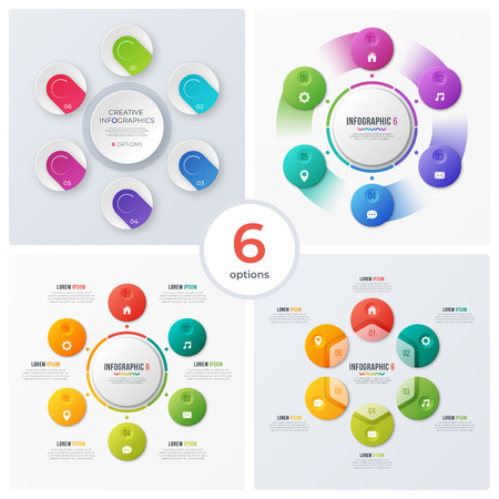 Set of modern circle charts, infographic designs, visualization Banque d'images - 115374538