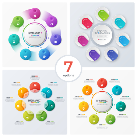 Set of modern circle charts, infographic designs, visualization Banque d'images - 115374539