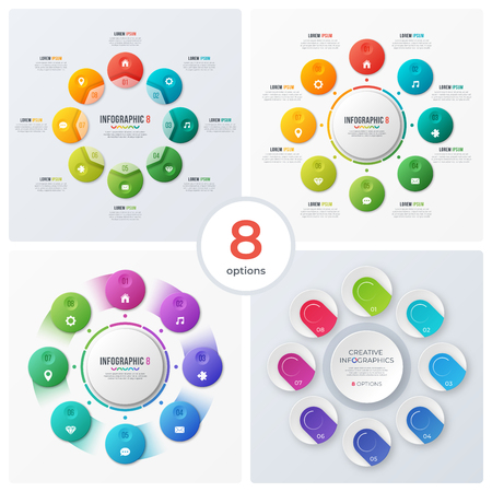 Set of modern circle charts, infographic designs, visualization