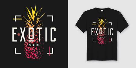 Stylish t-shirt and apparel modern design with pineapple, typogr Ilustração