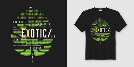 Exotic t-shirt and apparel modern design with styled tropical le Ilustração
