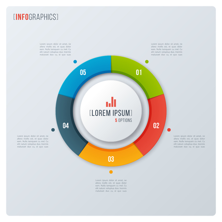 Modern style circle donut chart, infographic design, visualizati Illustration