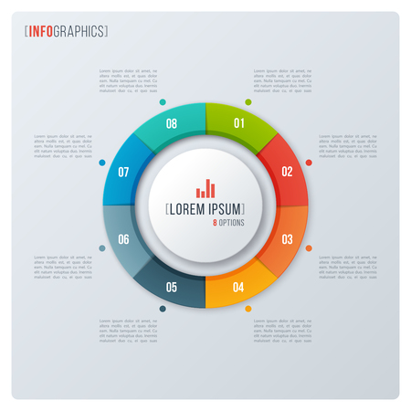 Modern style circle donut chart, infographic design, visualizati Stock Illustratie