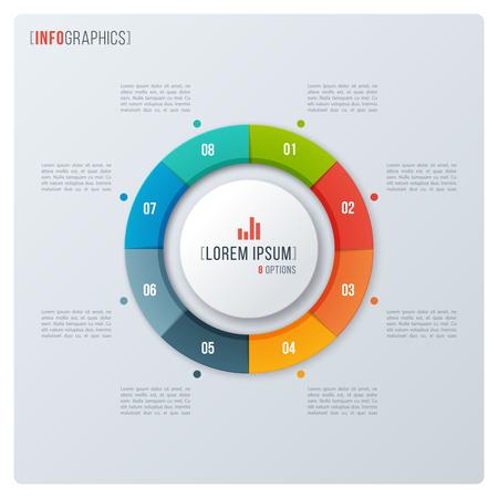 Modern style circle donut chart, infographic design, visualizati Illustration