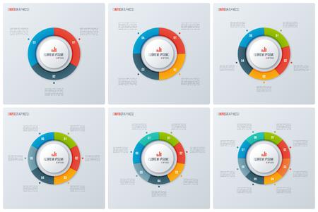 Set of modern style circle donut charts, infographic designs, vi Illustration