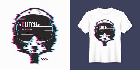 Stilvolles T-Shirt und Kleidung trendiges Design mit glitchy Flug er